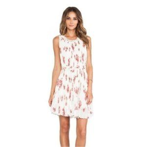 FREE PEOPLE RED WHITE FLORAL PLEATED TENT DRESS